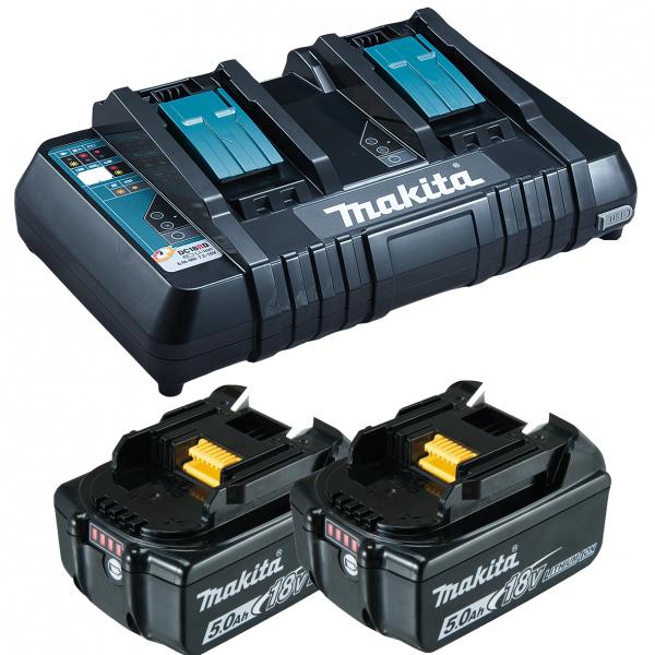 Makita Ladegerät - DC18RD - mit USB Anschluss - inkl. 2 Akkus BL1850 18V 5AH