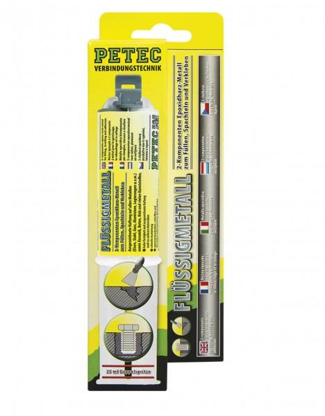 Petec 97425 Flüssigmetall 2K Epoxidharz-Metall - 25ml Tube - Doppelspritze