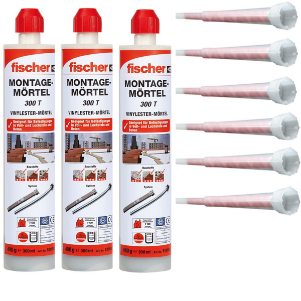 3x Fischer Montagemörtel 300 T - 300 ml - inkl. 6x Statikmischer FIS M - 519557