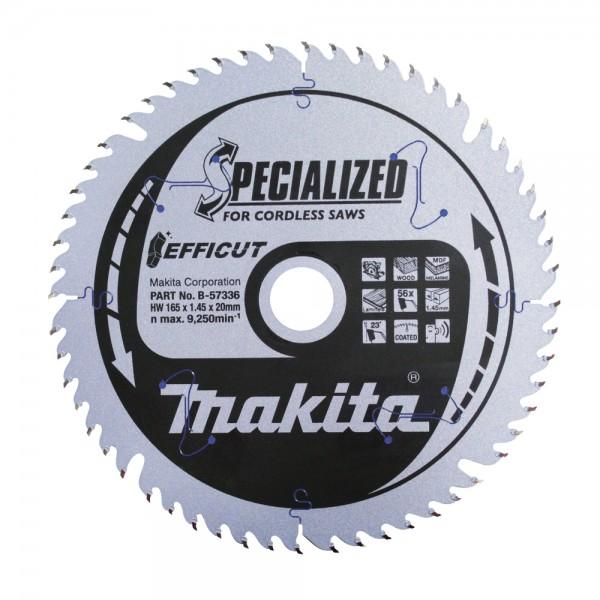 Makita Sägeblatt 165x1,45x20, 56Z EFFICUT - 57336 - Holz/Laminat/MDF/Kunststoff