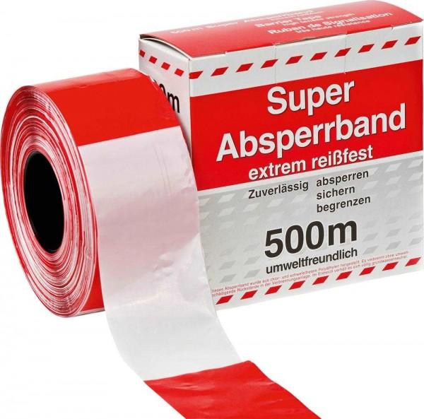 Kelmaplast Absperrband Rot-weiss - 500m - 80mm breit - reißfest