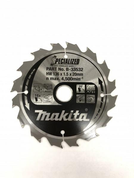 Makita Kreissägeblatt Akku-SPECIALIZED 136x20x16Z - B-33532