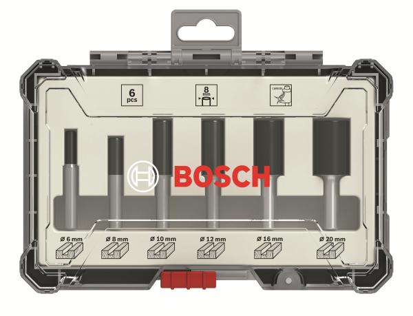 Bosch 6-teiliges Nutfräser-Set Nut Fräser - 8mm Schaft - 2 und 3 schneidig
