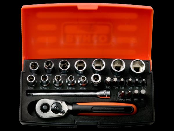 BAHCO 1/4 Zoll Steckschlüssel-Satz SL25 - Dynamic Drive - 25-teilig