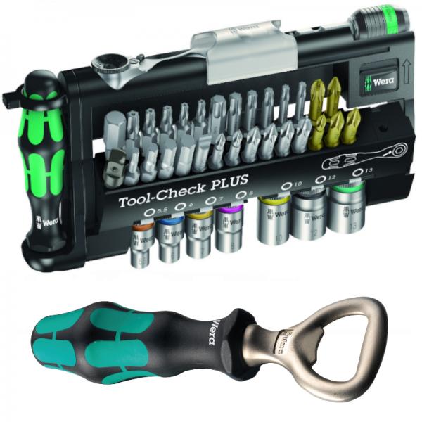 Wera Bitsatz Tool-Check Plus Bit-Ratsche + Handhalter Schlitz + Wera Flaschenöffner