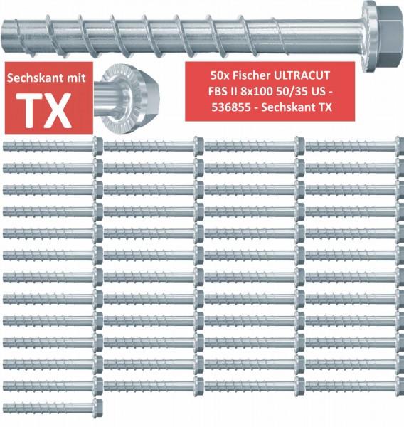 50 Fischer Betonschrauben ULTRACUT FBS II 8x100 50/35 US - 536855 - Sechskant TX