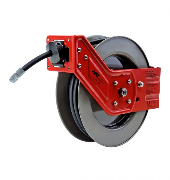 HM Müllner Druckluft-Schlauchtrommel - automatische Schlauchaufrollung - 15m - PVC