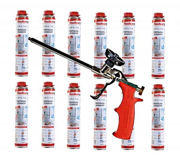 12x Fischer 1K Pistolenschaum PUP S 750ml B2 + Fischer Schaumpistole PUP M3