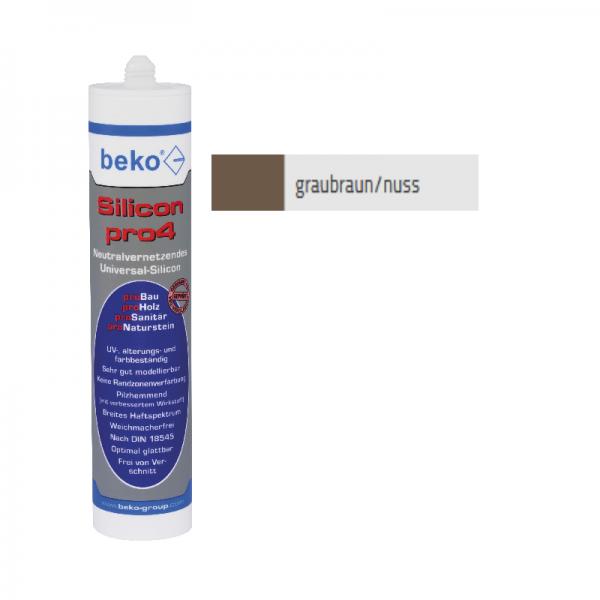 Beko pro4 Premium-Silicon 310ml - graubraun / nuss