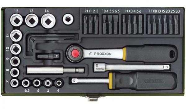 Proxxon Schraubersatz mit 1/4 Zoll-Ratsche und Magnethalter, 39-teilig - 23070
