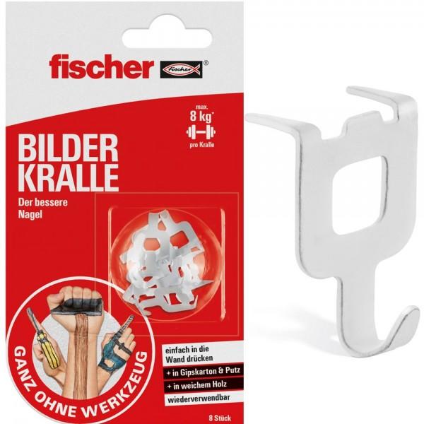 Fischer BILDER KRALLE - 545953 - 8 Stück - für Gips, Putz, weiches Holz
