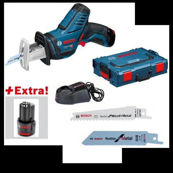 Bosch Akku-Säbelsäge GSA 12V-14 + L-BOXX + 2x 2,5Ah + AL1130CV