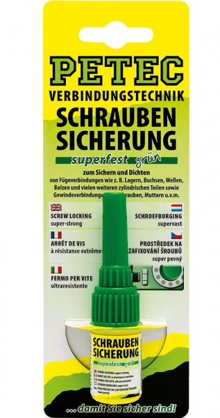 Petec 93005 Schraubensicherung superfest grün - 5 Gramm Flasche