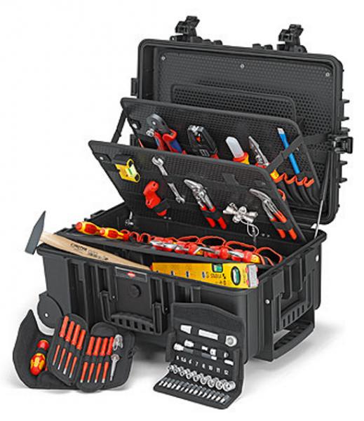 """Knipex Werkzeugkoffer """"Robust45"""" Elektro - 15kg - 63-teilig - mit Rollen / Teleskopgriff"""