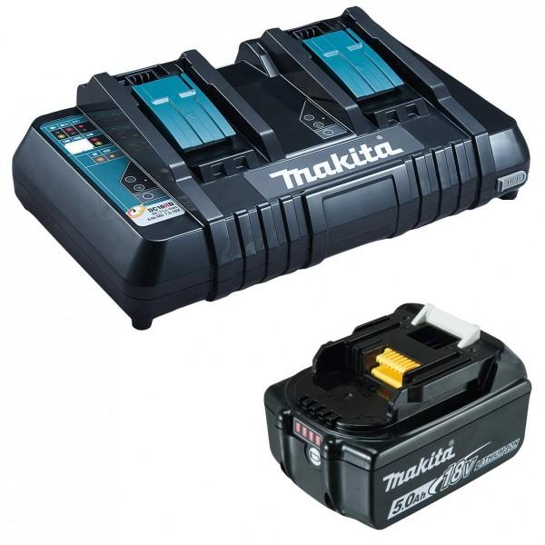 Makita Ladegerät - DC18RD - mit USB Anschluss - inkl. 1 Akku BL1850 18V 5AH