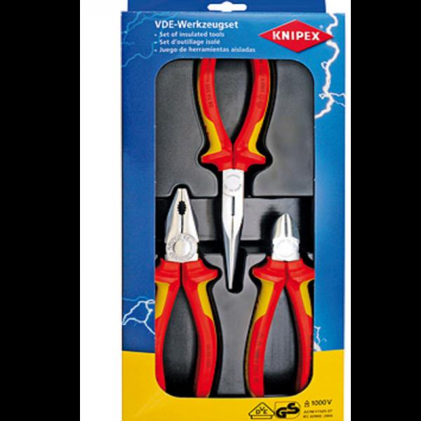 Knipex Zangenset 00 20 12 Elektro-Paket Kombizange Seitenschneider Spitzzange