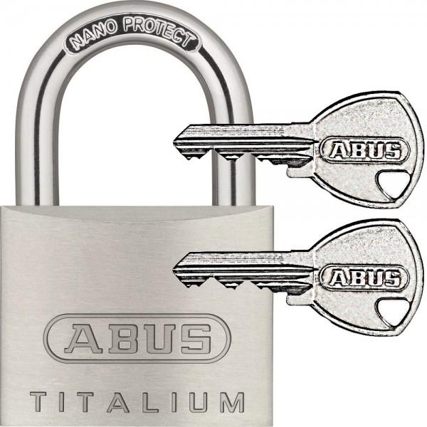 ABUS Titalium Vorhangschloss Vorhängeschloss - 64TI - inkl. 2 Schlüssel - 20-50mm