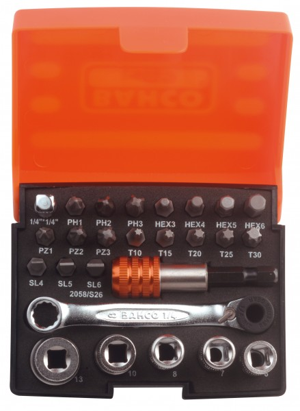 BAHCO Bitsatz mit 1/4 Zoll Bit-Knarre + Adapter 2058/S26 - Schlitz PH PZ Torx®