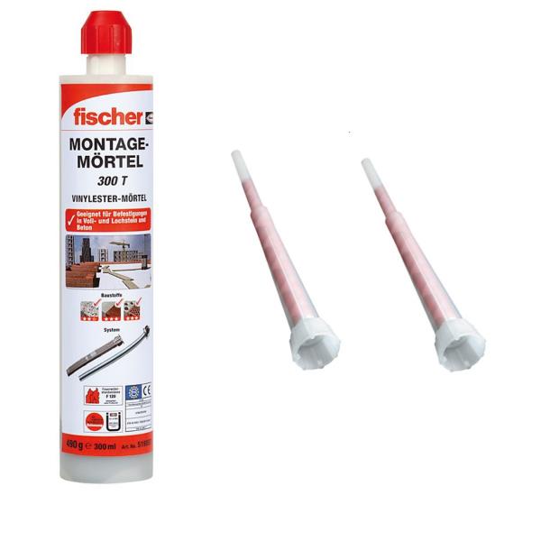 Fischer Montagemörtel 300 T - 300 ml - inkl. 2x Statikmischer FIS M - 519557