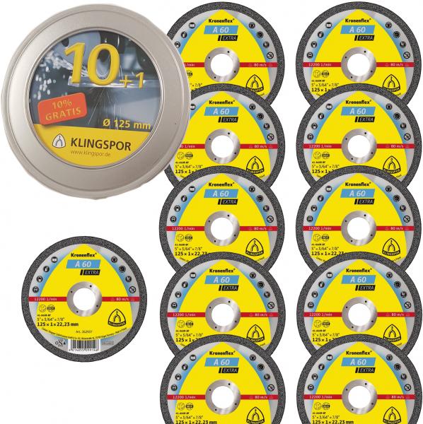 Klingspor Kronenflex® A 60 EXTRA 11 Trennscheiben - Dose - 125mm - für Stahl