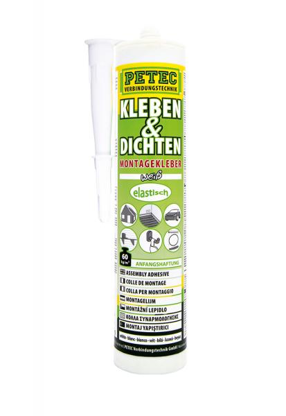 Petec 94529 Montagekleber Kleben + Dichten - 290ml - Kartusche - weiß