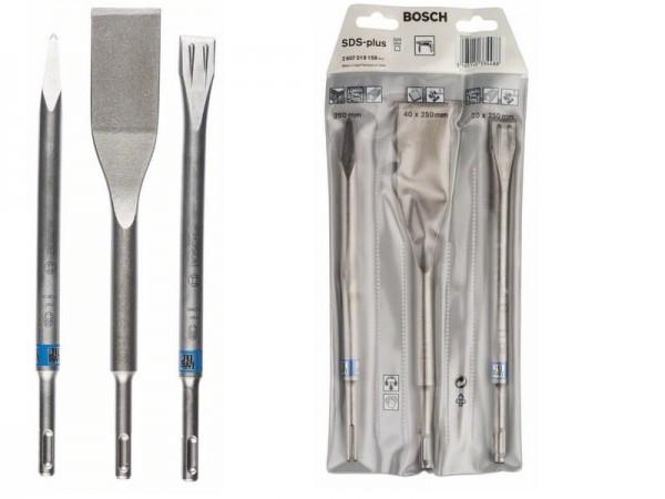 Bosch SDS plus Meißel flach spitz- 250-260mm lang - 3-teilig - selbstschärfend