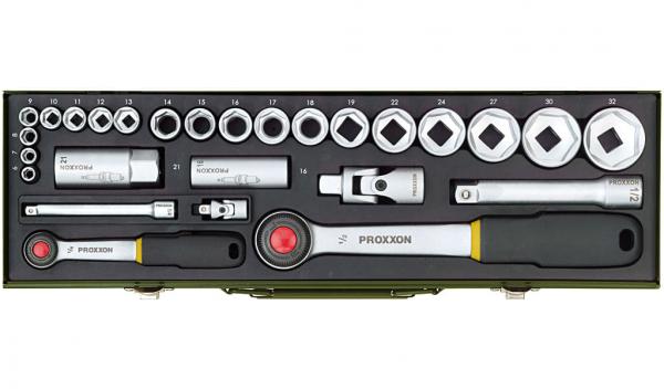 Proxxon PKW-Steckschlüsselsatz mit 1/4 Zoll- und 1/2 Zoll-Ratsche, 27-teilig - 23020