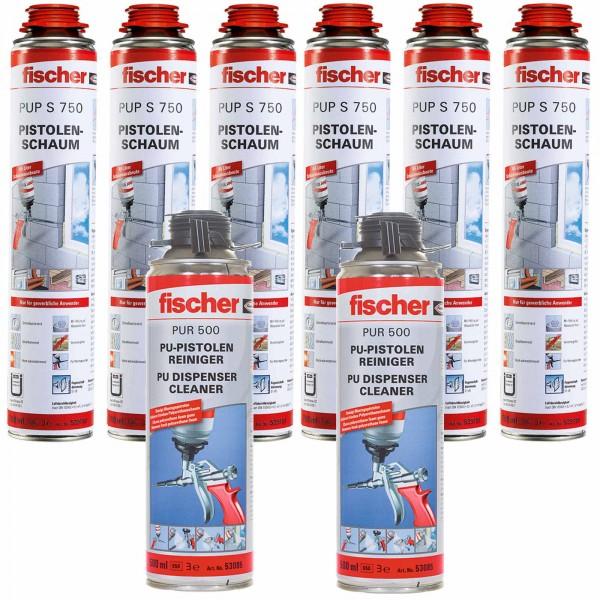 6x Fischer 1K Pistolenschaum PUP S 750ml B2 + 2x PUR500 500ml Reiniger