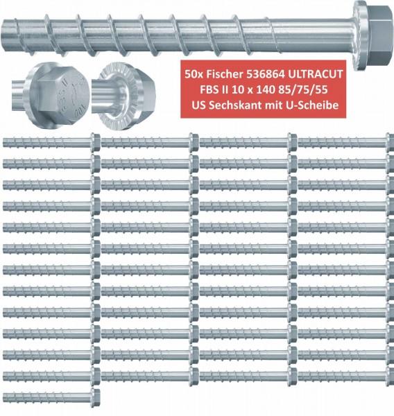 50 Fischer Betonschrauben ULTRACUT FBS II 10x140 85/75/55 US 536864 - Sechskant