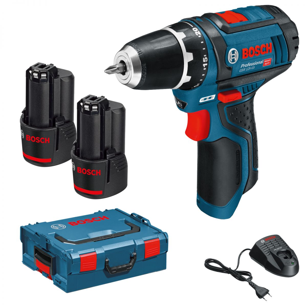bosch prof cordless drill gsr 12v 15 2x 2ah li battery. Black Bedroom Furniture Sets. Home Design Ideas