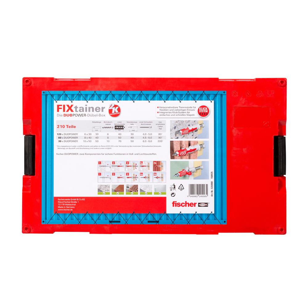 fischer d bel duopower fixtainer sortimentsbox 535968 210 st ck ebay. Black Bedroom Furniture Sets. Home Design Ideas